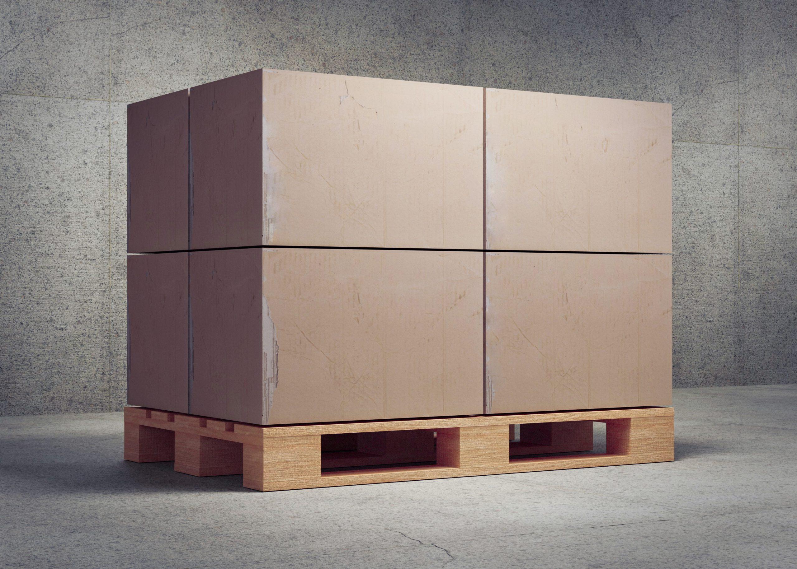 Pallettes with boxes. 3d render